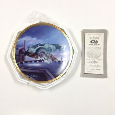 Star Wars Lot of 4 Hamilton Plate - Slave I, TIE Fighter, Luke, Snow Speeder