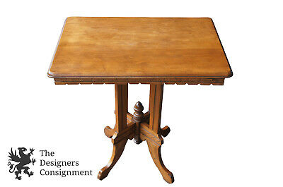 Antique American Victorian Walnut Parlor Accent Table Carved Apron & Legs