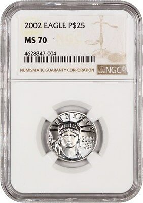 2002 Platinum Eagle $25 NGC MS70 - Statue Liberty 1/4 oz