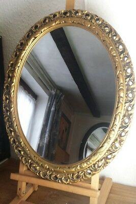 Oval 1950s Shabby Chic Gold Wall Mirror Large Big Vintage Retro Plaster Frame