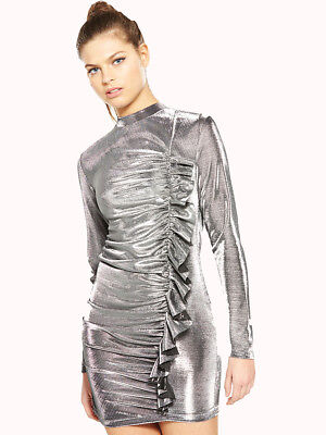 V by Very Unique Metallic Frill Dress