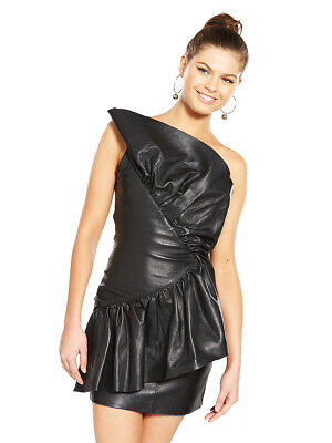 V by Very Unique Frill One Shoulder Leather Dress