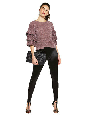 V by Very Metallic Frill Top