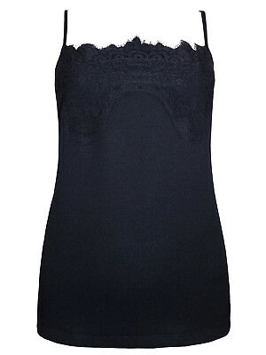 New Black M&s Lace Panel Overlay Camisole Vest Top Sizes  10 To 22