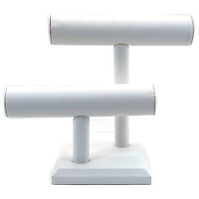 """White Faux Leather 2 Tier Double T Bar Jewelry Display 10 1/2"""" x 8 1/4"""""""