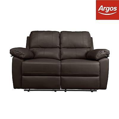 Argos Home Toby 2 Seat Faux Leather Recliner Sofa -Chocolate