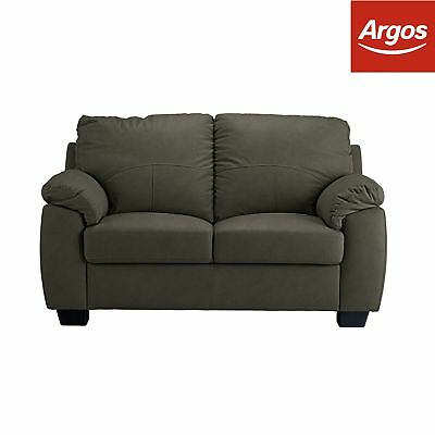 Argos Home Logan 2 Seater Bonded Leather Sofa - Mottled Grey
