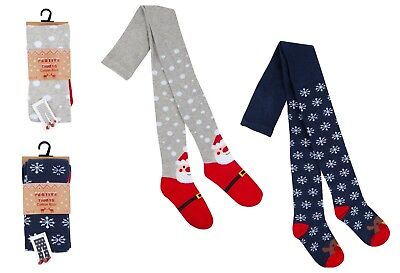 Girls Christmas Tights Lovely Festive designs Cotton 2-3 Years up to 7-8 Years