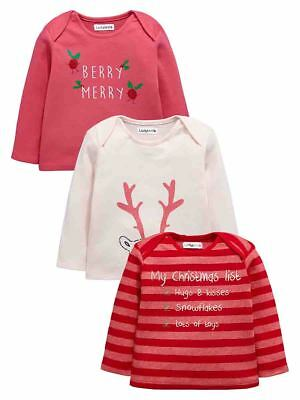 Ladybird Baby Girls Pack of Three Xmas T-Shirts in Pinks Size 0-3 Months