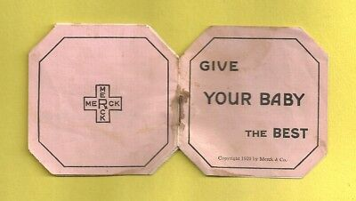 1920 Miniature Adv MERCK CHEMICALS For Baby Tooth Wash Cleaning Instructions
