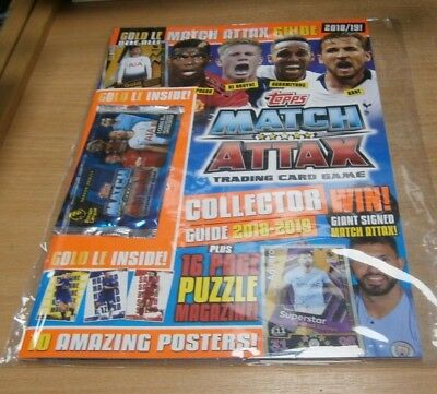 Topps Match Attax Collector Guide 2018-2019 + 5 Cards inc Gold LE Dele Alli