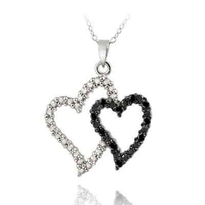 DB Designs Sterling Silver 1/10ct TDW Black Diamond Double Heart Necklace