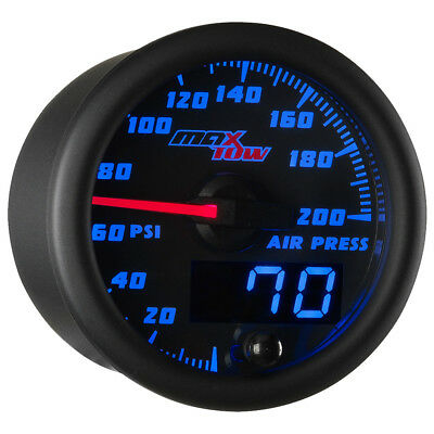 52mm Black & Blue MaxTow Double Vision 200 PSI Air Pressure Suspension Gauge Kit