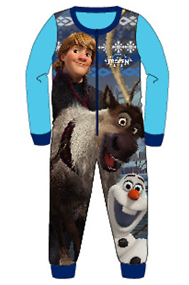Boys Character All In One Fleece Onezee Pyjamas Disney Frozen Olaf 2-8 Years New