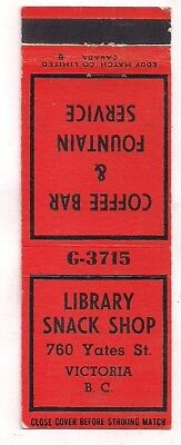 Library Snack Shop, 760 Yates St, Victoria BC British Columbia Matchcover 091818