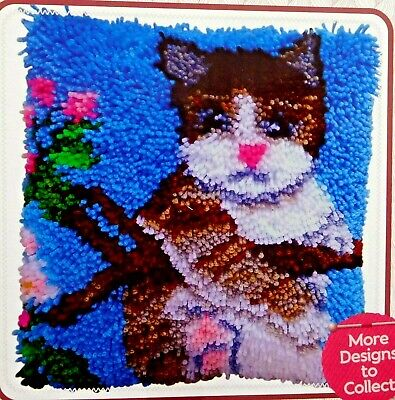 """Latch hook rug /pillow kit """" A Kitten""""  by Hobby craft  Tool included"""