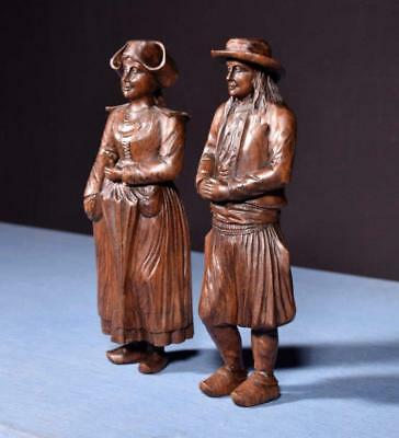 """*12"""" Pair of French Antique Hand Carved Breton Chestnut Figures"""