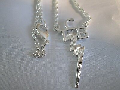 "ELVIS TCB Sterling Silver Plated Necklace  By  Lowell Hays Size 23 "" inches"