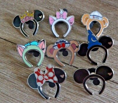 Disney pin HKDL Hidden Mickey ears headband set of 8 pins Complete Mickey Minnie