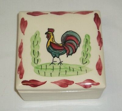Vintage Blue Ridge Southern Pottery Rooster Gamecock Hand Painted Square Box