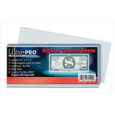 Ultra Pro Regular Currency Sleeve 100 Count