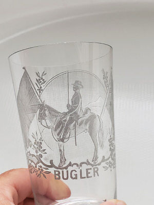 British & Australian Flags ~ Etched Glass ~ Bugler ~ Military War