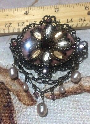 Vintage Victorian Beautiful Brooch Pearls /Rhinestones Free Shipping