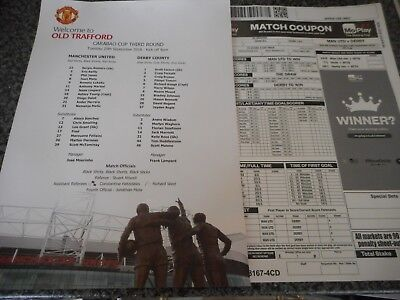 MANCHESTER UNITED  v  DERBY COUNTY 2018/19 CARABAO CUP 3rd  SEPT 25 TEAM SHEET