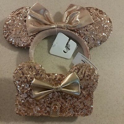Disney Parks Minnie Mouse Rose Gold Cell Phone Case + Ears Combo NWT