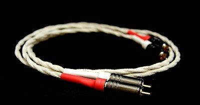 PURE SILVER AND COTTON INTERCONNECT RCA to RCA 2 x 1m AUDIOPHILE CABLES