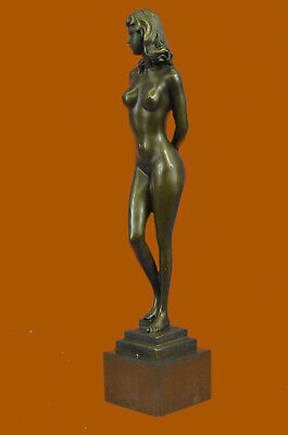 Art Deco Nude Temptress Bronze Sculpture Hot Cast Marble Base Figurine Figure