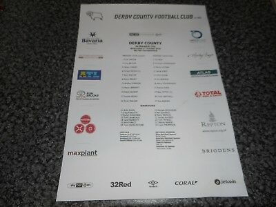 DERBY COUNTY  v  NORWICH CITY   2018/19  OCTOBER 3  COLOUR TEAM SHEET  FREE POST