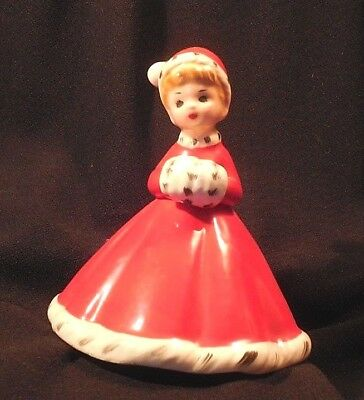 Vintage Josef Originals Girl In Red With Muff & Santa Hat Christmas Bell w label