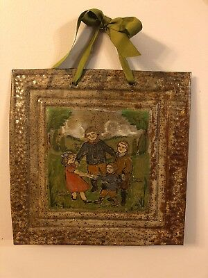 Folk Art Family Children Original Painting on Ceiling Tin Signed Wall Hanging