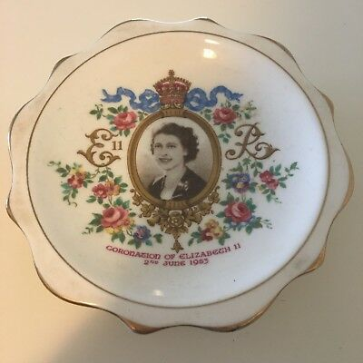 Vintage Royal Albert Queen Elizabeth II 1953 Coronation Pin/Trinket Dish