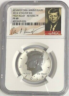 2014 W Ngc Pf69 Silver Reverse Proof Kennedy Early Releases 90 % Signature Label