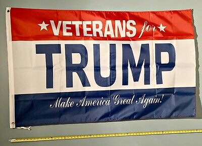 DONALD TRUMP FLAG *!!FREE SHIPPING!!* VETERANS FOR TRUMP 2020 3x5""