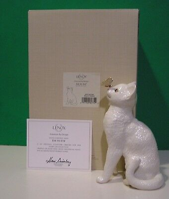 LENOX EYE TO EYE CAT BUTTERFLY sculpture NEW in BOX with COA