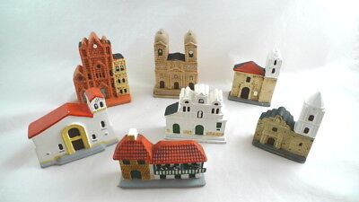 7 Ceramic Churches Iglesias Buildings BOGOTA COLOMBIA Mini Souvenir Replica