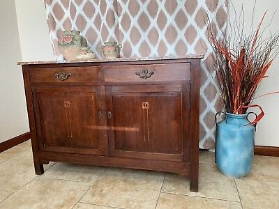 Antique French Country Mahogany Buffet Sideboard Rose Granite Top /read