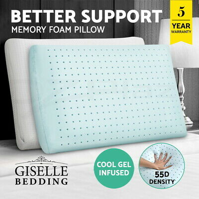 Giselle Bedding Twin Pack Memory Foam Pillow Air Cell Cool Gel High Density 55D