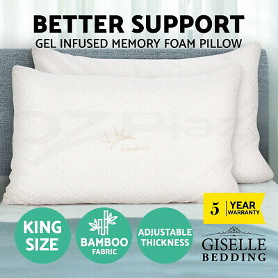 Giselle Bedding Twin Pack Shredded Memory Foam Pillow Bamboo Cover King Size