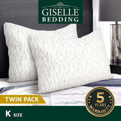 Giselle Bedding Memory Foam Pillow Shredded Pillows Rayon Cover Soft King Size