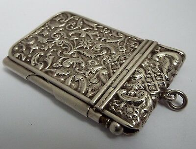 Beautiful Rare English Antique 1901 Solid Sterling Silver Chatelaine Note Book