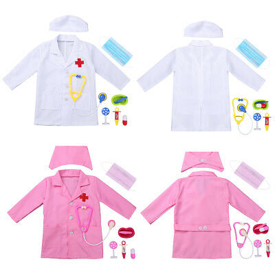 Kids Doctor Costume Scrubs Nurse Medical Uniform Girl Boy Fancy Dress Outfit Set