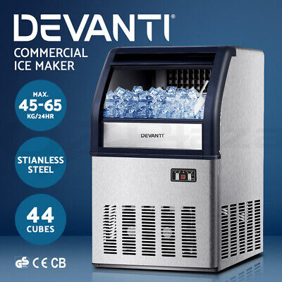 DEVANTi Commercial Ice Cube Maker Stainless Steel Machine Fridge Home Bar