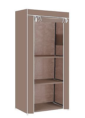 Vinsani Single Wardrobes Storage Robust & Lightweight With Internal Rail Brown
