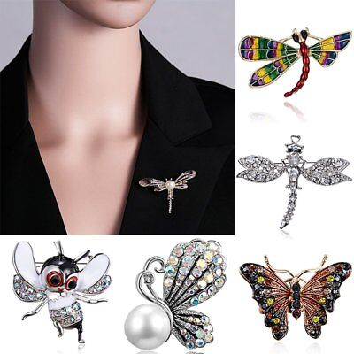 Crystal Pearl Animal Dragonfly Bee Butterfly Brooch Pin Womens Costume Jewellery