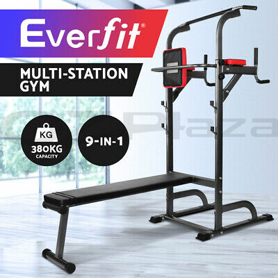 Everfit Power Tower Pull Up Multi Station Chin Up Weight Bench Dip Knee Home Gym