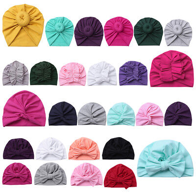 Newborn Boys Girls Baby Soft Cotton Hat Turban Knotted Cap Beanie Bow-knot Hat